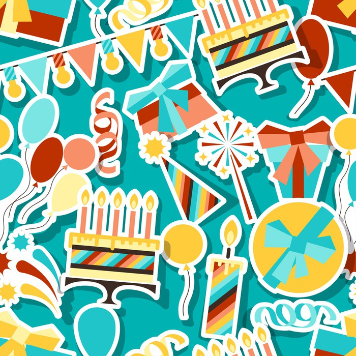 Happy Birthday party seamless pattern Wall Mural Pixers We