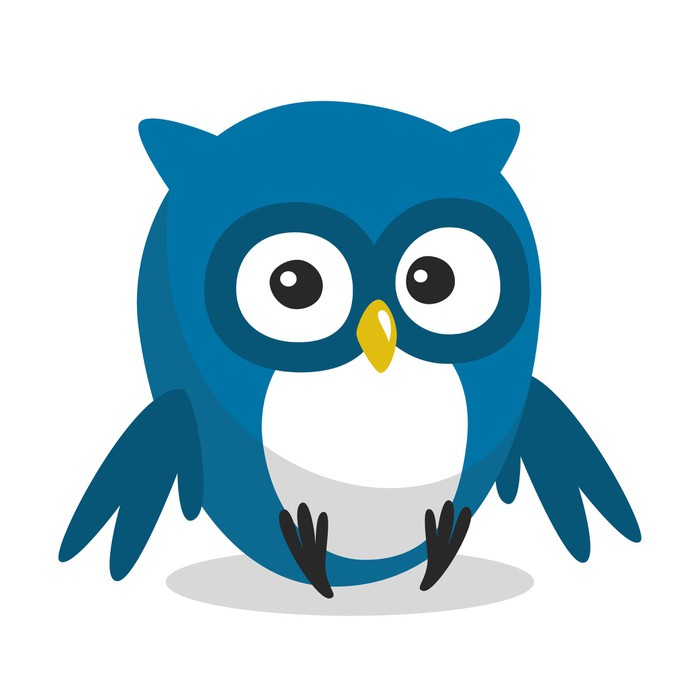 Adesivo divertente cartone animato gufo blu con i grandi