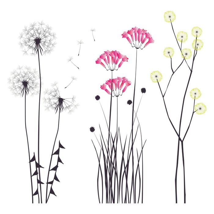 Sticker Pixerstick Fond floral, fleurs en fleurs -