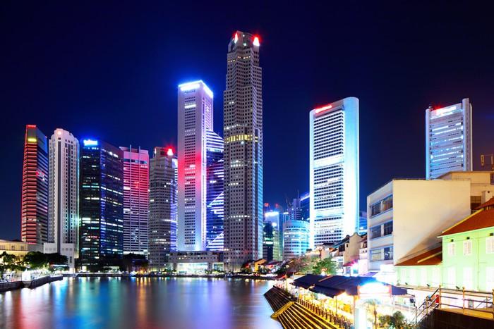 Vinylová Tapeta Město v noci Singapur - Asijská města