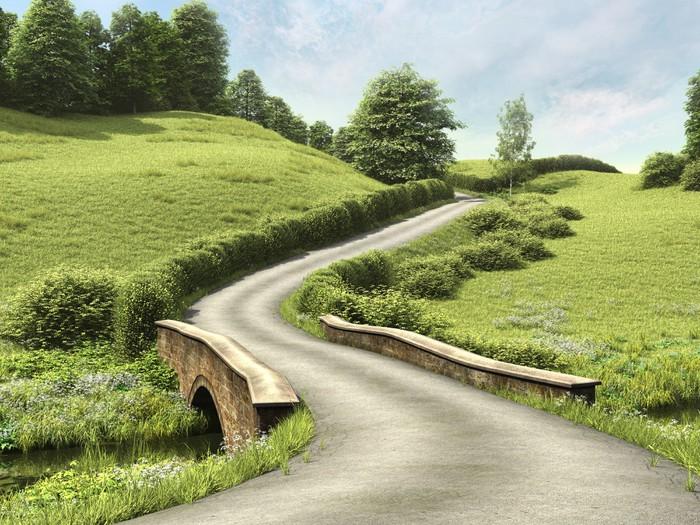 papier peint route de campagne avec un pont sur une verte prairie pixers nous vivons pour. Black Bedroom Furniture Sets. Home Design Ideas