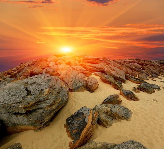 Vinylová Tapeta Kameny pouště na západ slunce - Témata