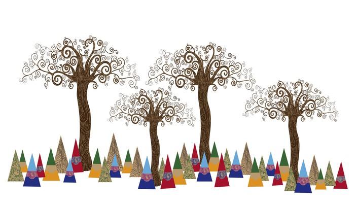 Pixerstick Sticker Boom bos kunst concept - Kunst en Creatie