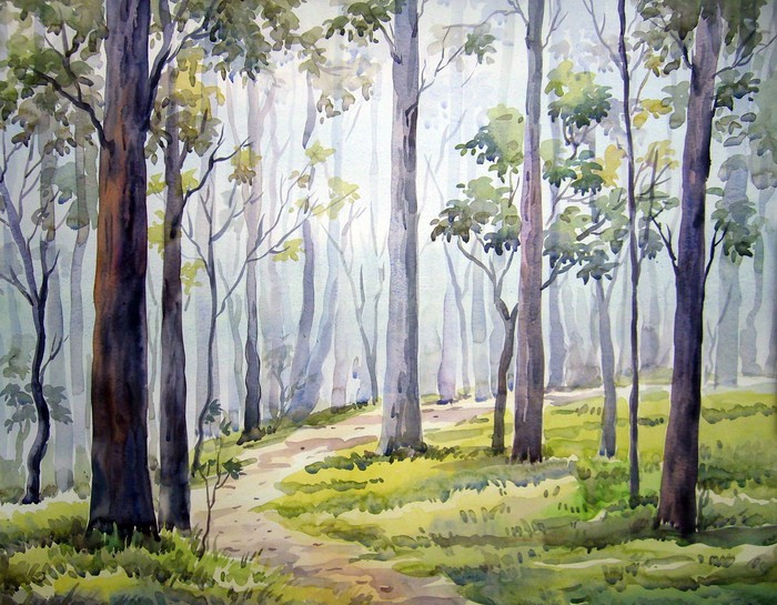 Forest Watercolor Painting Wall Mural Pixers We live to change