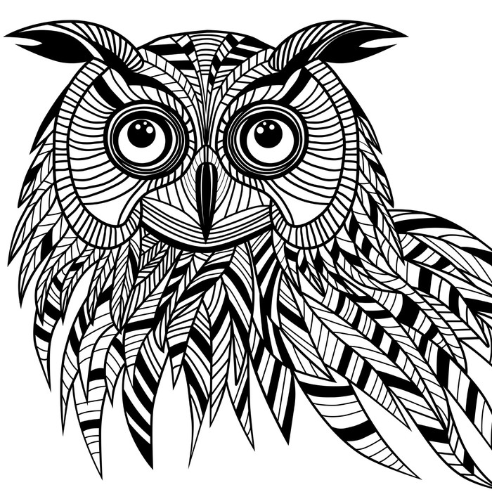 Pixerstick Aufkleber Owl Vogel den Kopf, als Halloween-Symbol für Maskottchen oder Emblem Design, s - Stile