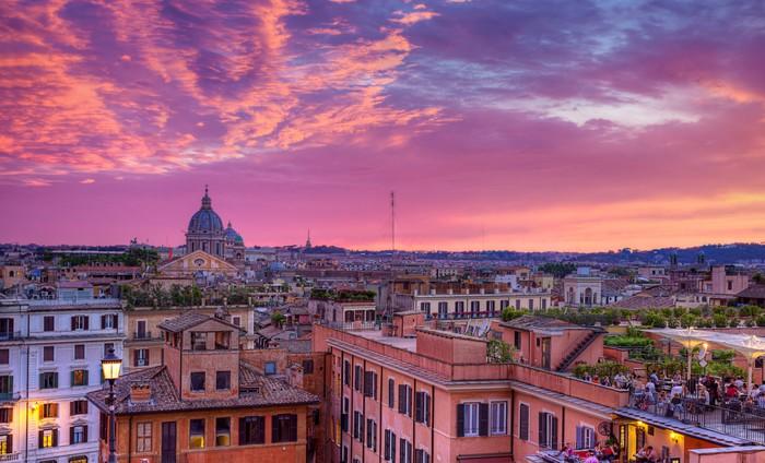 Carta da parati paesaggio urbano di roma al tramonto for Carta da parati roma