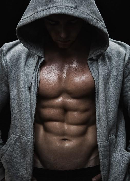 Leinwandbild Nahaufnahme von muskulösen Mann Sport nach Gewichte Ausbildung - Bereich