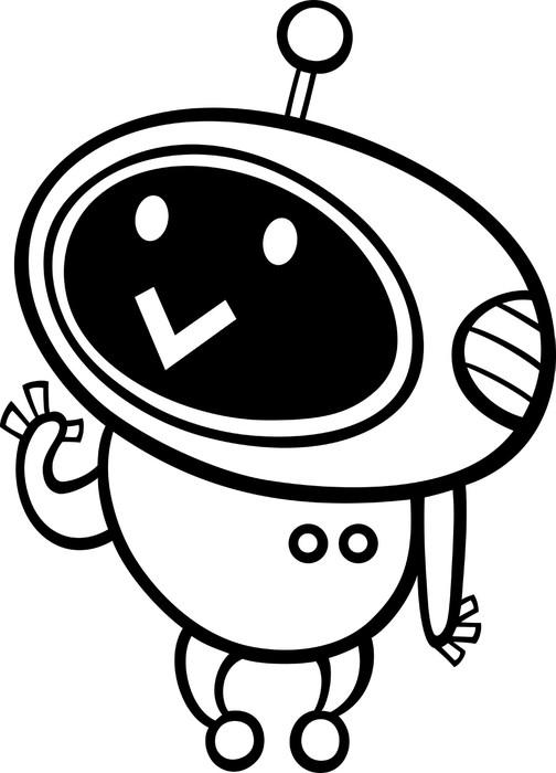 Kleurplaten Robots Afdrukken.Sticker Kawaiibeeldverhaal Robot Kleurplaten Pixerstick