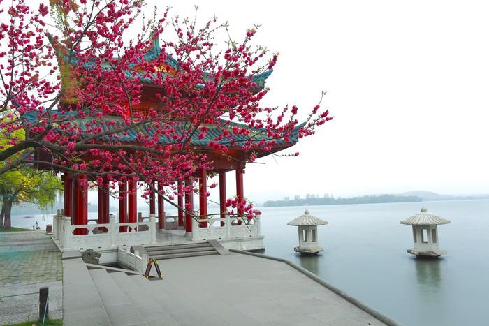 Vinylová Tapeta Červený pavilon Starověké budova vedle West Lake v Chang-čou - Asie
