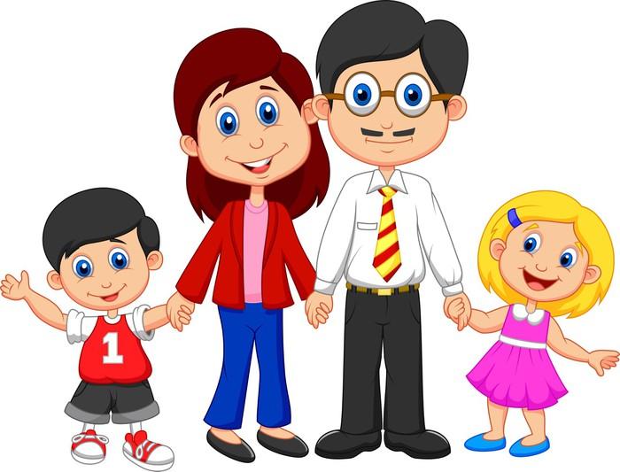 Imagen De Una Familia Feliz Animada: Vinilo Pixerstick De Dibujos Animados Feliz De La Familia