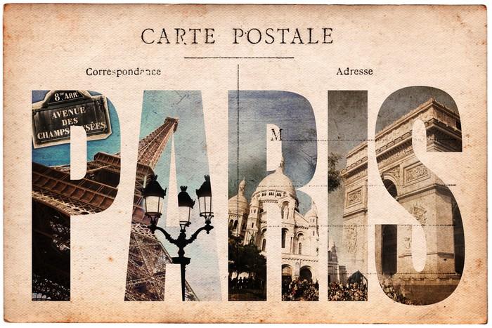 papier peint carte postale ancienne collage monuments paris pixers nous vivons pour changer. Black Bedroom Furniture Sets. Home Design Ideas