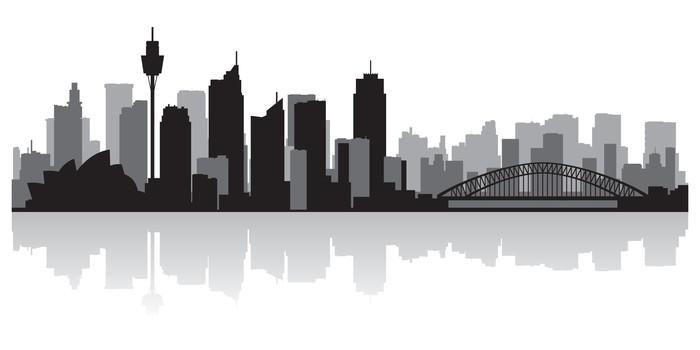 Sydney Australia City Skyline Vector Silhouette Sticker