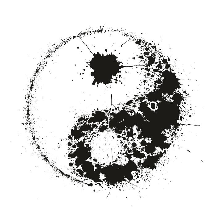 Nálepka Pixerstick Symbol Grunge Yin Yan z černých inkoustových postříkání, vektor - Náboženství