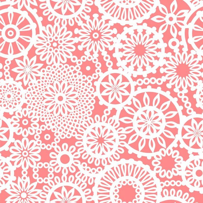Fototapete Häkeln Kreis Ornament Blüten rosa und weiß nahtlose Muster