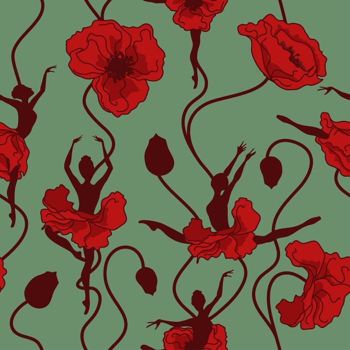 Quadro su tela seamless pattern di danza di fiori for Quadri fiori stilizzati