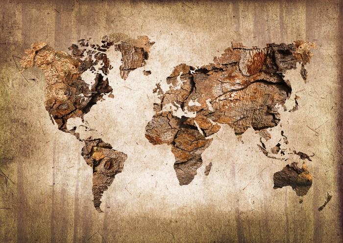 Carta da Parati Lavabile Legno mappa del mondo, texture vintage - Temi