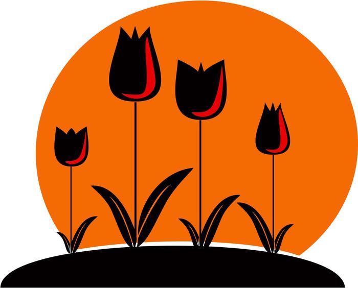 Vinylová Tapeta Zahrada s tulipány - Květiny