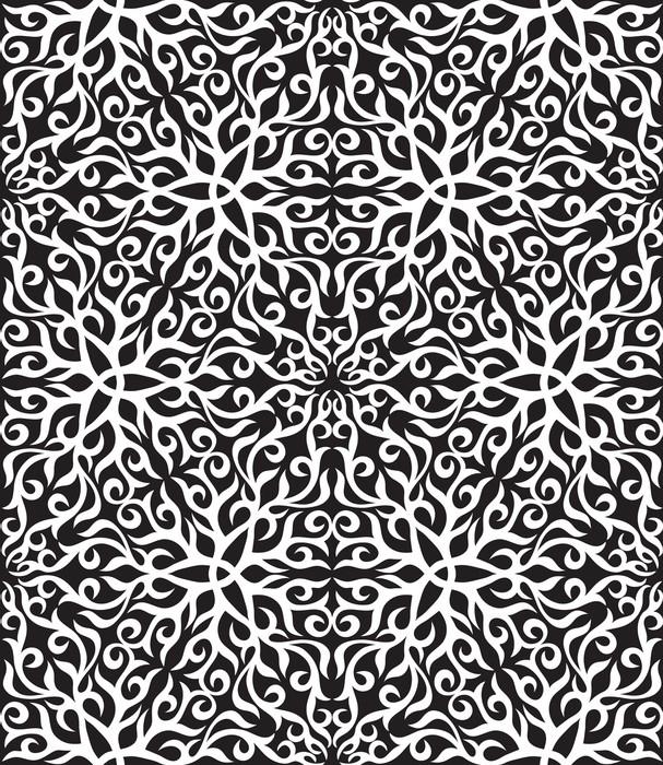 Vinylová Tapeta Černá a bílá abstraktní ruka-draw bezešvé vzor. - Abstrakce