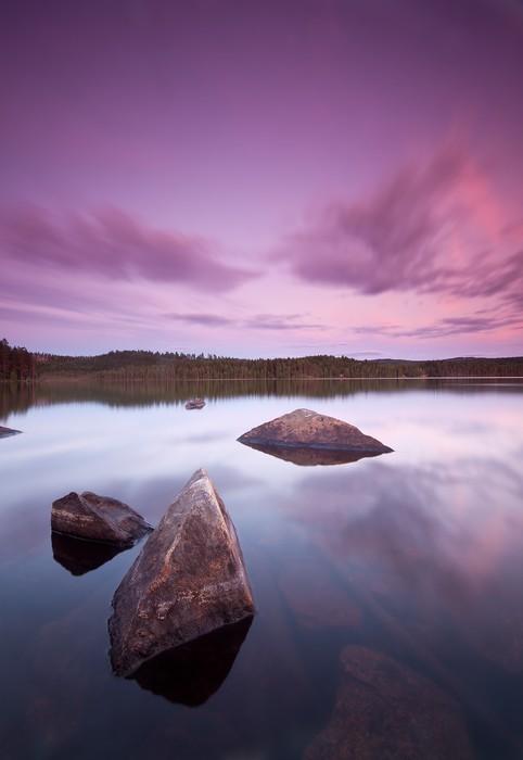 Plakát Nádherné jezero sundawn s pěkným mraky a klidným povrchem - Voda