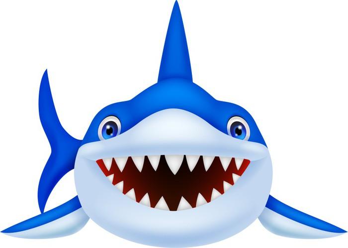 Fotomural Cute Dibujos Animados De Tiburón • Pixers