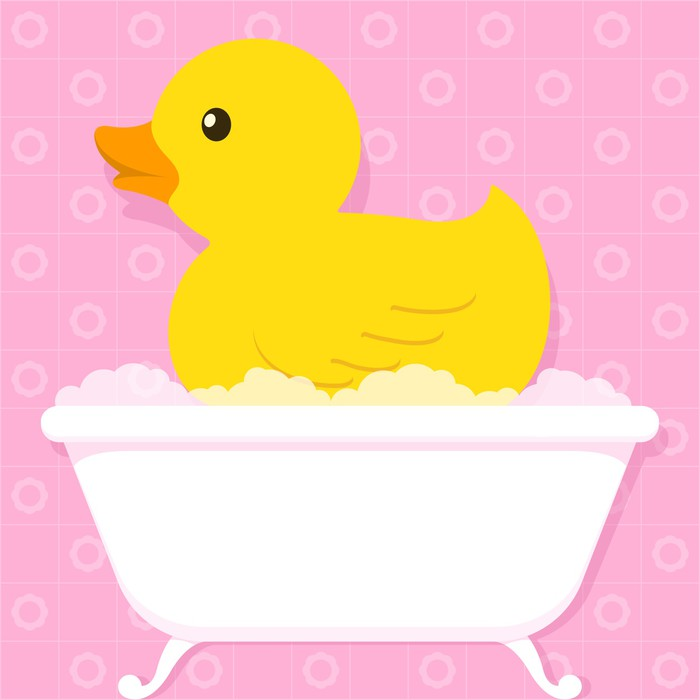 Yellow duck in bathtub with bubbles Poster • Pixers® • We live to change