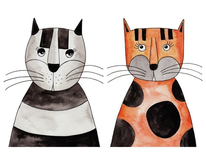 Veggklistremerke Katter. Kunstverk, blekk og akvareller på papir - Annet Annet
