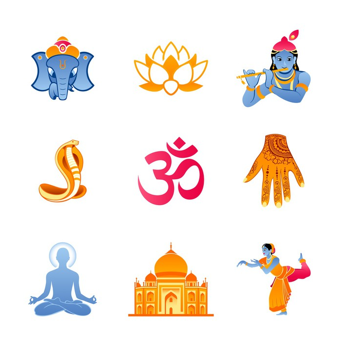 Spiritual religious and culture icons of India Wall Mural Pixers