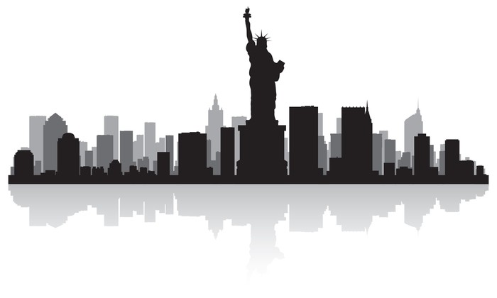new york city skyline silhouette wall mural pixers we live to
