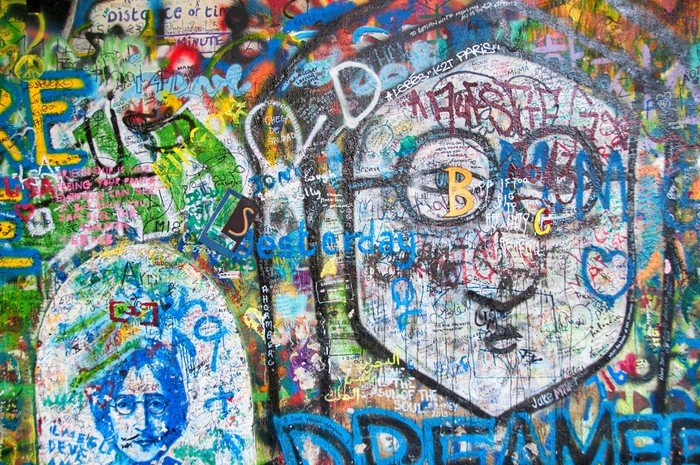 Colorful John Lennon wall in Prague Wall Mural • Pixers® • We live ...