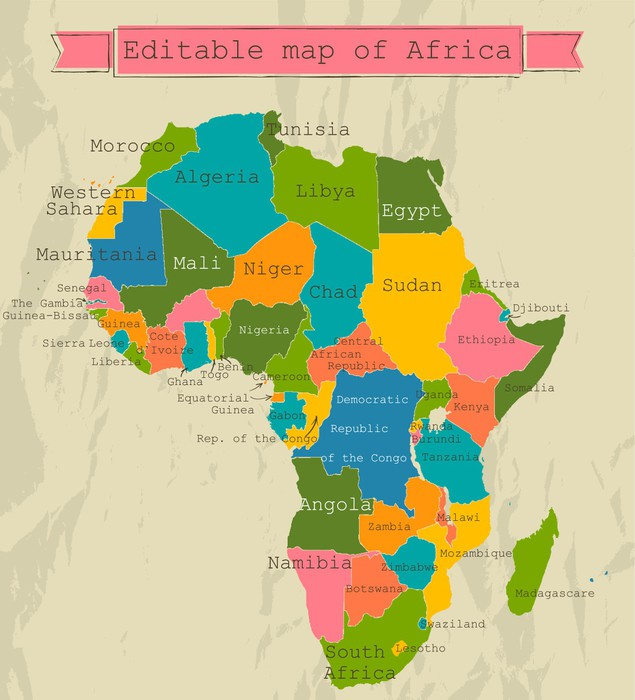 Editable map of Africa with all countries Wall Mural Pixers We