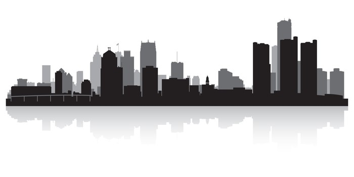 detroit city skyline silhouette wall mural pixers we live to change