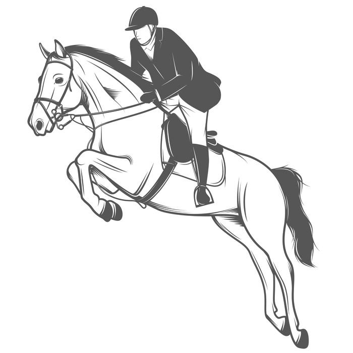 Vinylová Fototapeta Jezdecký sport, žokej na koni na lyžích - Vinylová Fototapeta