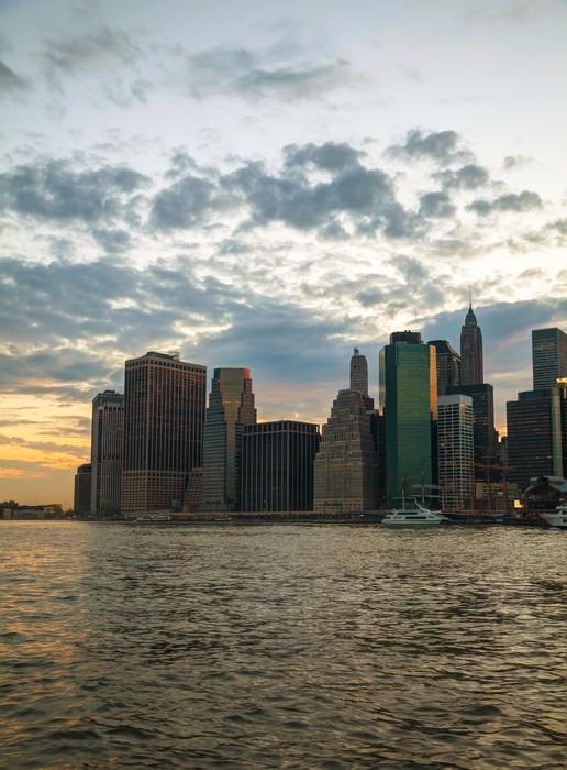Vinylová Tapeta New York City mrakodrapy ve večerních hodinách - Amerika