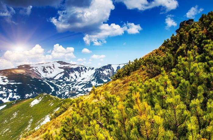 Vinyltapete Berglandschaft - Jahreszeiten