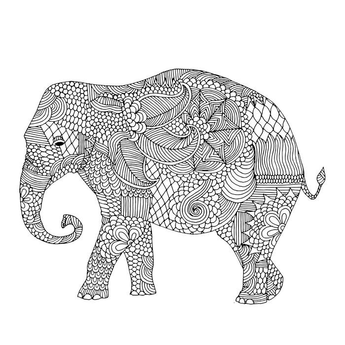 Vinylová Tapeta Slon s květinovou výzdobu - Nálepka na stěny