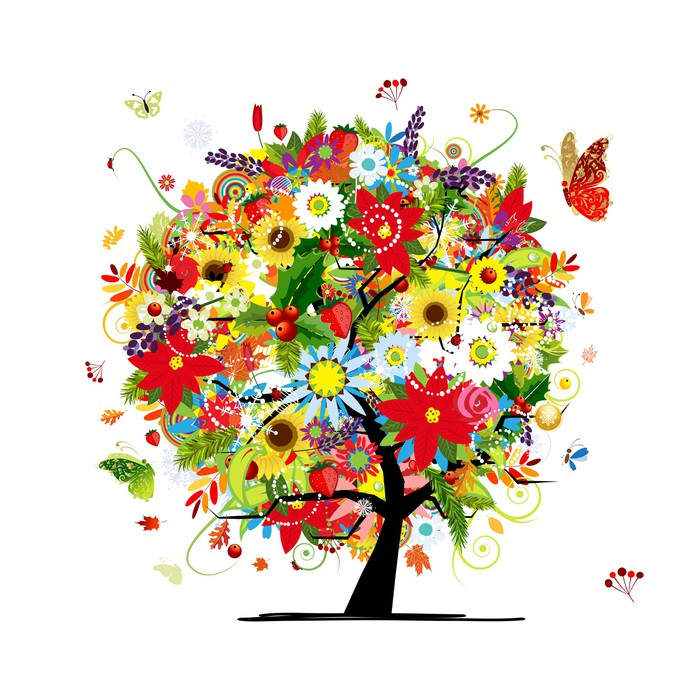 Four seasons concept art tree for your design wall mural for 4 seasons mural