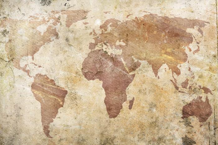 Carta da parati vintage mappa del mondo pixers for Carta parati mondo