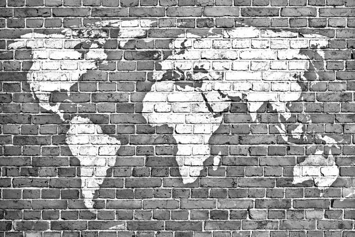 Vinylová Tapeta Mapa světa na staré cihlové zdi - Pozadí