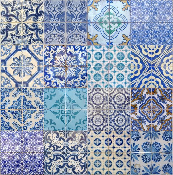 papier peint motifs azujelo bleu pixers nous vivons pour changer. Black Bedroom Furniture Sets. Home Design Ideas