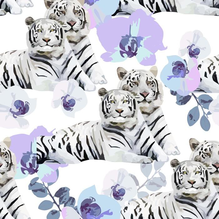 Sticker Pixerstick Une paire de tigres et de fleurs blanches - Thèmes