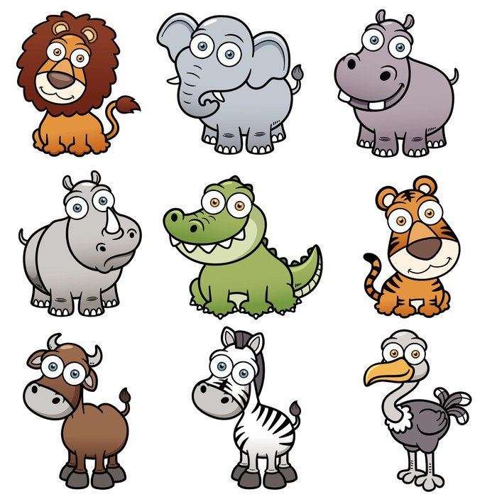 Sticker Pixerstick Vector illustration d'animaux sauvages dessins animés - Mammifères