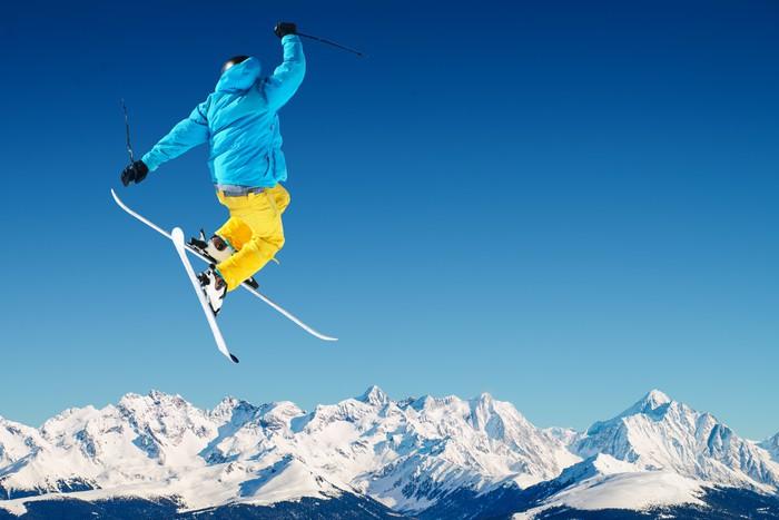 Sticker Pixerstick Skieur en haute montagne - Thèmes