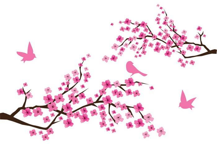 Sticker Pixerstick Vecteur de fleurs de cerisier - Styles