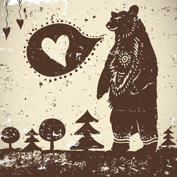 Sticker Pixerstick Animal sauvage fond d'ours sur un fond grunge avec un coeur - Thèmes