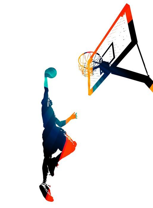 Sticker Pixerstick Funky Basketball Slam Dunk - Sticker mural