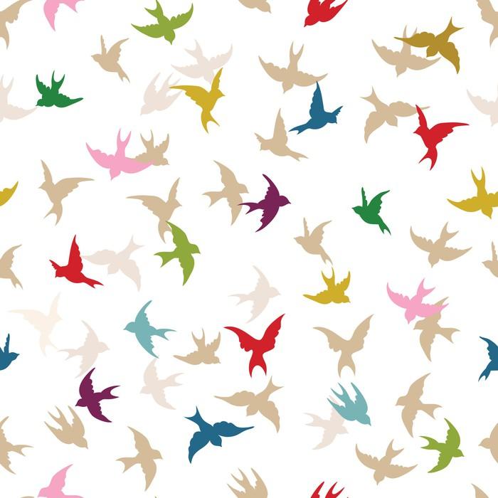 Sticker Pixerstick Oiseaux de printemps seamless -