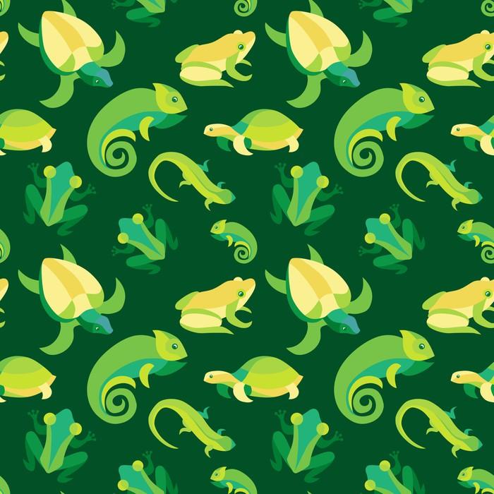 Sticker Pixerstick Vecteur seamless avec des grenouilles et reptiles - Arrière plans