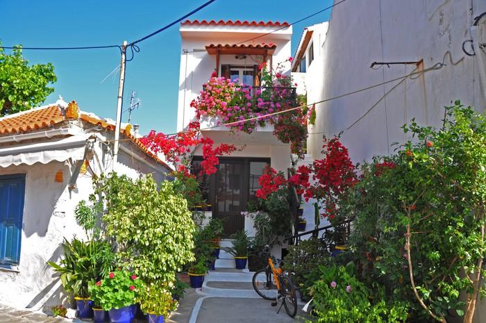 Vinylová Tapeta Řecké domy s květinami na Samos - Evropa
