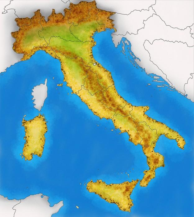 Carta da parati cartina italia fisica illustrazione for Carta da parati cartina geografica