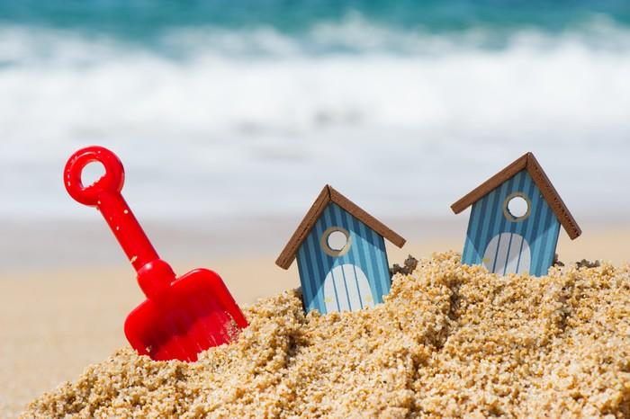Vinylová Tapeta Plážové chaty a hračky - Prázdniny